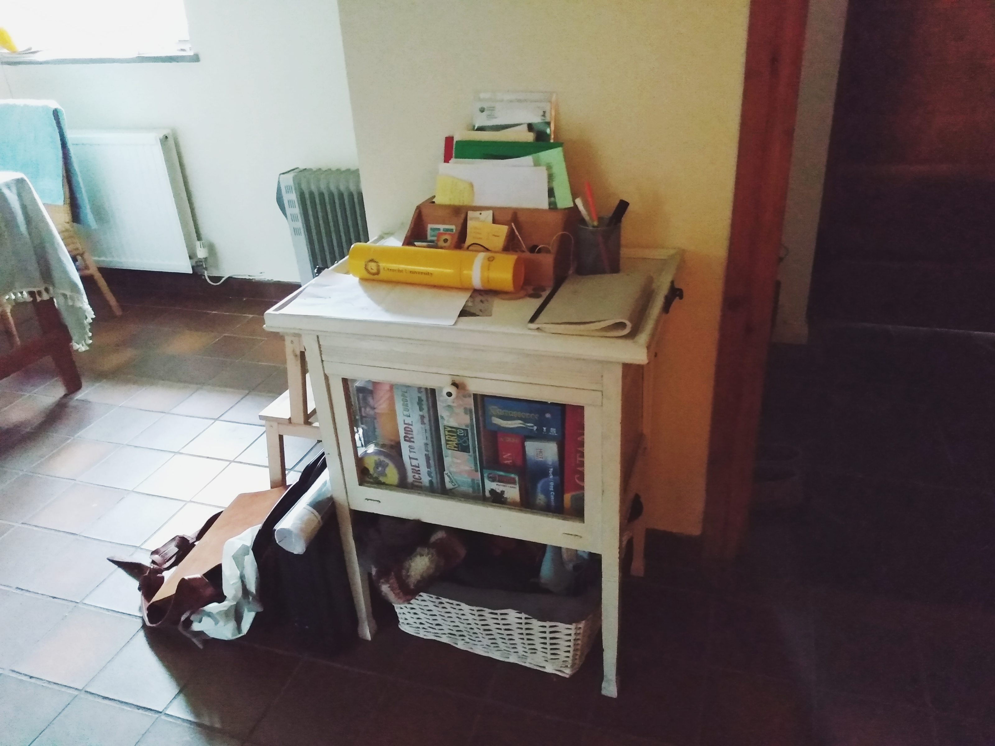 Repurposing a Vintage French Tray Table by a Hopeful Home. The vintage French tray table before repurposing.
