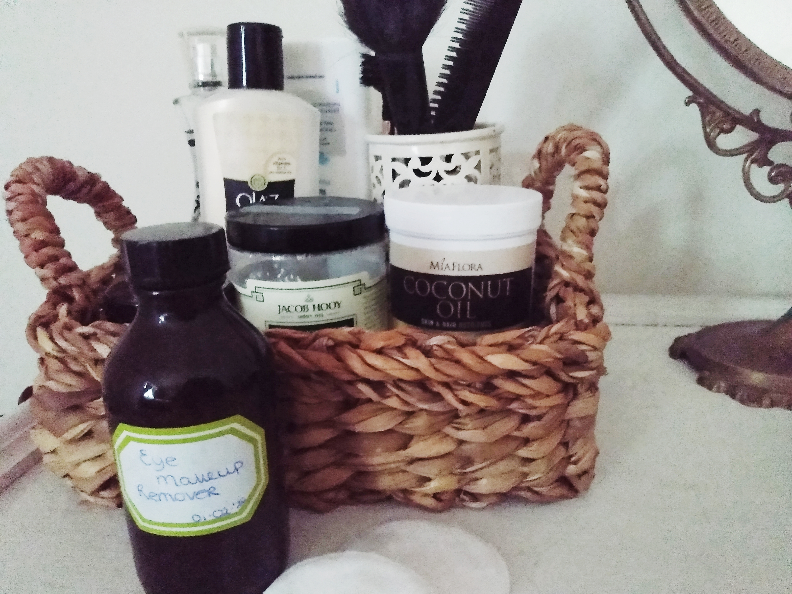 The eye makeup remover on top of the dresser. DIY Natural Witch Hazel Makeup Remover by a Hopeful Home.