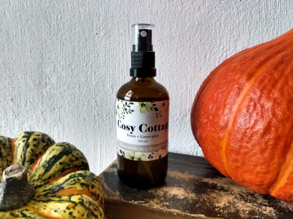Close up. Cosy Cottage Room and Linen Spray by a Hopeful Home webshop for rustic vintage homeware.