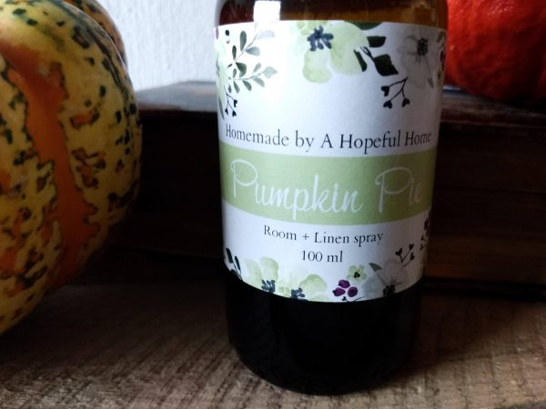 Close up pumpkin pie Room and Linen spray by a Hopeful Home webshop for rustic vintage homeware.