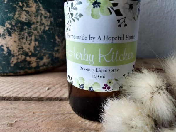 Close up image Herby Kitchen Room and Linen spray by a Hopeful Home webshop for rustic vintage homeware.