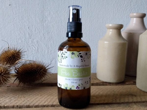 Main image Poo Buster Room and Linen spray by a Hopeful Home webshop for rustic vintage homeware.