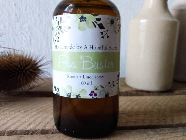 Close up Poo Buster Room and Linen spray by a Hopeful Home webshop for rustic vintage homeware.