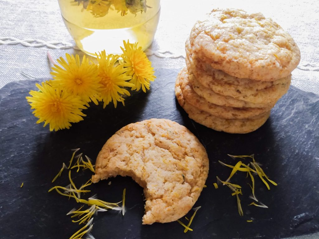 Close up picture. How to Make Dandelion Cookies by a Hopeful Home.