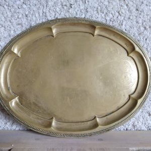 Round brass tray by a Hopeful Home webshop for rustic vintage homeware.