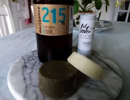 Horizontal image of all three products: natural shampoo and conditioner bar, natural deodorant for sensitive skin, and sweet almond oil. My top 3 non-toxic personal care products of 2020 by a Hopeful Home.