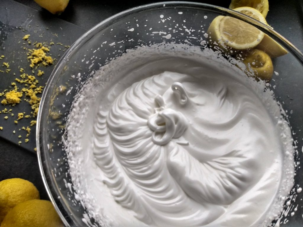Meringue mixture. No-fail lemon meringue recipe from a Hopeful Home.