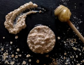 Header image homemade honey and oatmeal face scrub by a hopeful home.
