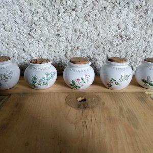 5 Vintage Ceramic Spice Jars with Cork Lids