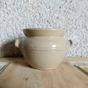 Beige Stoneware Confit Pot with Handles French Style