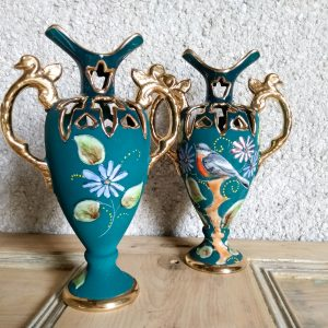 Hubert Bequet Quaregnon Ceramic Vases Bird of Paradise Belgium