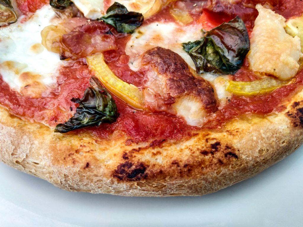 Sourdough pizza finished closeup. Sourdough pizza dough by a Hopeful Home.