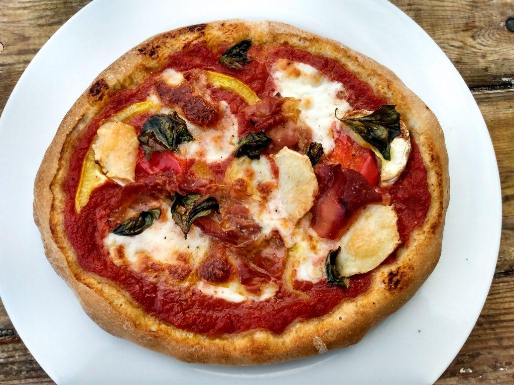 Sourdough pizza finished. Sourdough pizza dough recipe by A Hopeful Home.