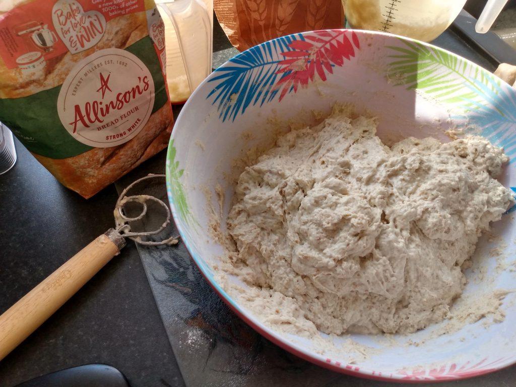 Prepared dough. How to make  sourdough bread from scratch by A Hopeful Home.