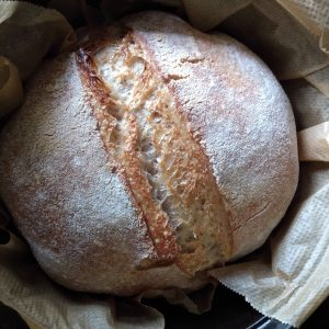 Homemade sourdough bread by A Hopeful Home.